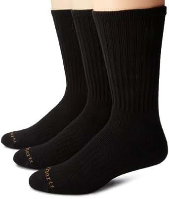 Carhartt Mens 3 Pack Work Wear Cushioned Crew Socks, Black, Sock Size:10-13/Shoe Size: 6-12