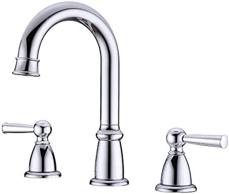Waterfall Bathroom Sink Faucets, Crea 3 Hole Widespread Bathroom Faucet with Supply Hose 2 Handle Deck Mount Lavatory Basin Mixer Faucet, Chrome