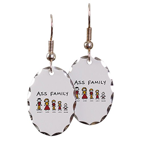 Earring Oval Charm Ass Family Smart Wise Jack Lazy Dumb (Wise Ass)
