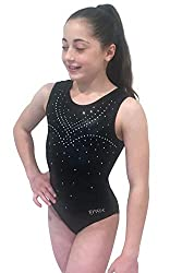 Black Gymnastics Leotards With Rhinestones for Girls