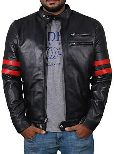 Laverapelle Men's Genuine Lambskin Leather Jacket (Black-Red, Large, Polyester Lining) - 1501535
