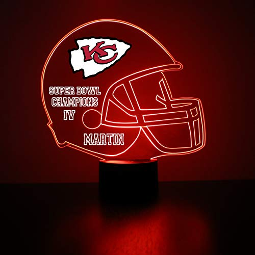 (Mirror Magic Store Kansas City Chiefs Football Helmet LED Night Light with Free Personalization - Night Lamp - Table Lamp - Featuring Licensed)