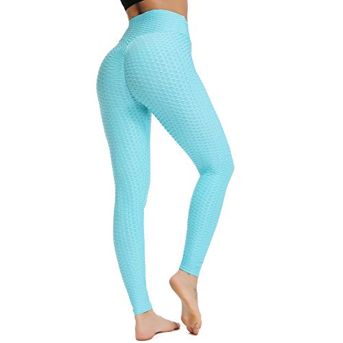 FITTOO Womens High Waist Textured Workout Leggings Booty Scrunch Yoga Pants Slimming Ruched Tights Emerald Blue L
