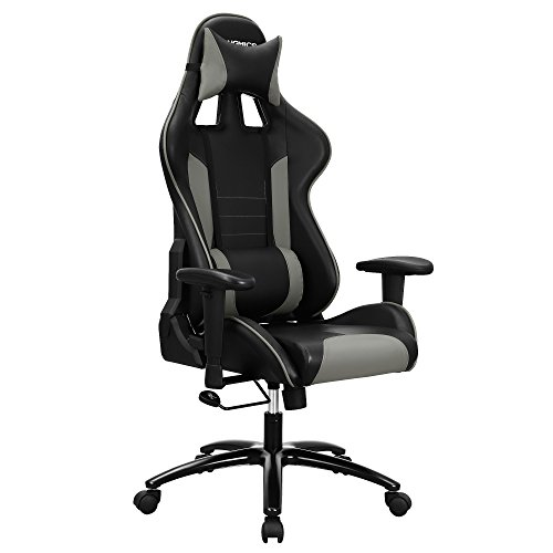 SONGMICS Gaming Chair Swivel Office Chair with High Back, Molding Foam Padded Cushion, Adjustable Headrest and Lumbar Support/ for Home or Office Desk Black and Grey URCG17GY