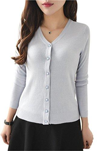 Women Slim Long Sleeve V Neck Coat Cardigan Knitwear Casual Crochet Sweater Slim Sweaters Coat Light Gray One Size