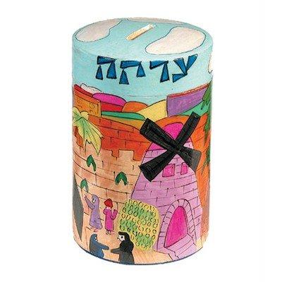 Yair-Emanuel-Wooden-Hand-Painted-Jerusalem-Vista-Round-Tzedakah-Charity-Box-TZR-4