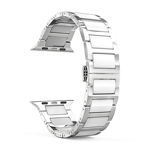 - Ceramic Watch Band, Ceramic Bracelet Replacement Band for Apple watch All Model (White-42mm)