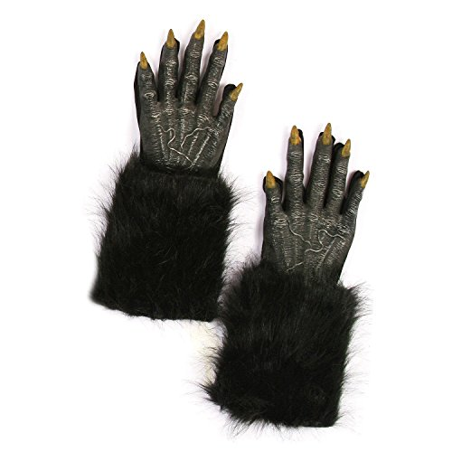 (Potomac Banks Warewolf Gloves Adult Size Costume Accessories with Free 50-ft. Caution Tape -)