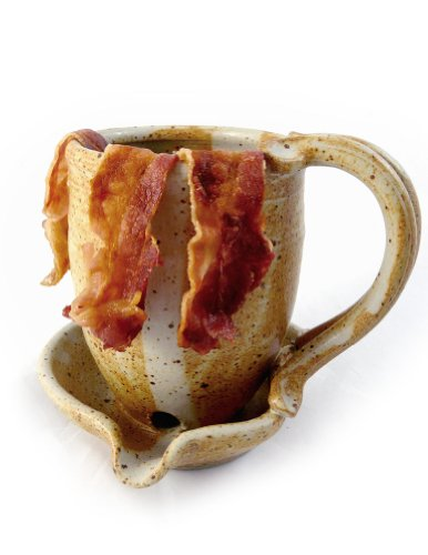 Hand-Sculpted Stoneware Microwave Bacon Cooker Mug, Made in USA (Butternut Tan) -