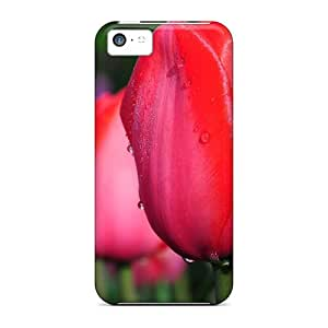 Iphone 5c Hard Back With Bumper Silicone Gel Tpu Case Cover Water Drops On Red Tulips