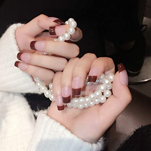 Leo-4Beauty - Transparent Brown French Nails Polished Chocolate Flat Acrylic Nails Shiny Lady Daily Wear Nail Tips with Glue Sticker Z314
