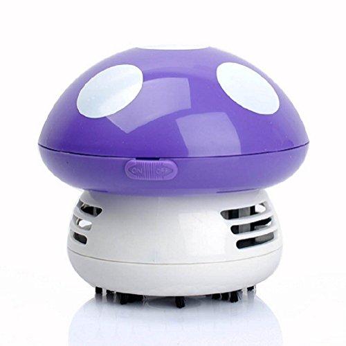 Makhry Mushroom Shaped New Portable Corner Desk Vacuum Cleaner Mini Cute Vacuum Cleaner Dust Sweeper (purple)