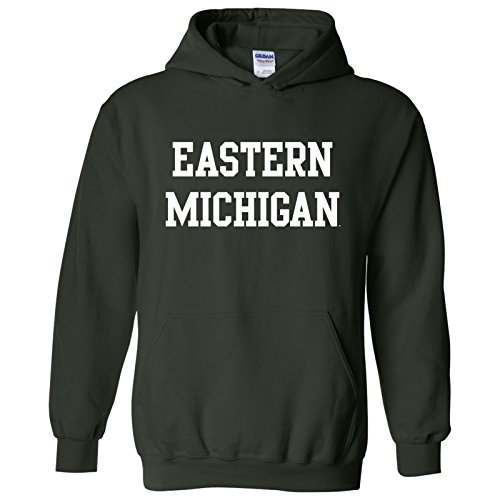 Football Michigan Eastern (Eastern Michigan Eagles Basic Block Hoodie - Large - Forest Green)