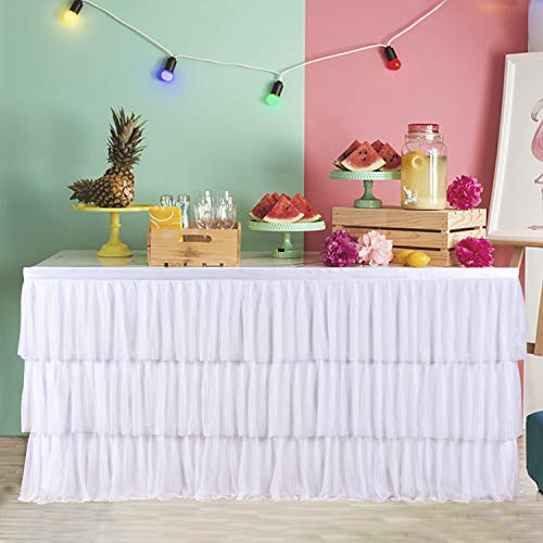 6ft Tulle Tutu White Table Skirt with 3 Tier Dust Ruffle Skirting for Round or Rectangular Table for Party, Meeting, Birthday, Wedding Decoration and Home Decor(L72Inch×H30Inch)