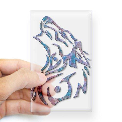 CafePress Tribal Wolf Art 9 Rectangle Sticker Sticker Rectangle - Standard Clear