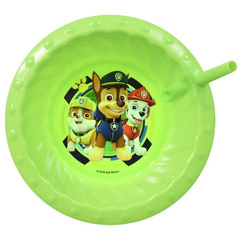 Zak Designs Paw Patrol Childrens Sipper Cereal Bowl With Straw (Green)