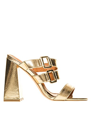 PUBLIC DESIRE Women's Jersey Buckle Heeled Mules Gold Pu hLmFPkJ