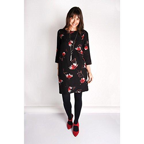 fiori abito Nero Clothing Nero a Sandwich Stampa ncz6WxC