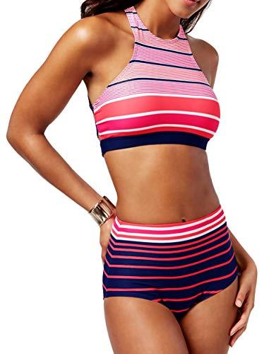 Michael Kors 2 Piece Bikini Set - Abby Stripe High Neck Crop Swimsuit Top & High Waisted Briefs Navy Pink, Medium
