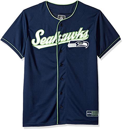 ICER Brands Men's Standard Baseball Jersey T Button Up Mesh Shirt, Team Color, Navy, Large]()