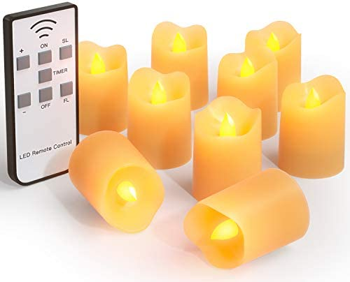 Peakally Flameless Tea Light Candles,Battery Operated LED Candles with Remote,9pcs Votive Candles for Home,Outdoor.Halloween Wedding DecorationsAutomatically Timer Function.Realistic Flickering Flame