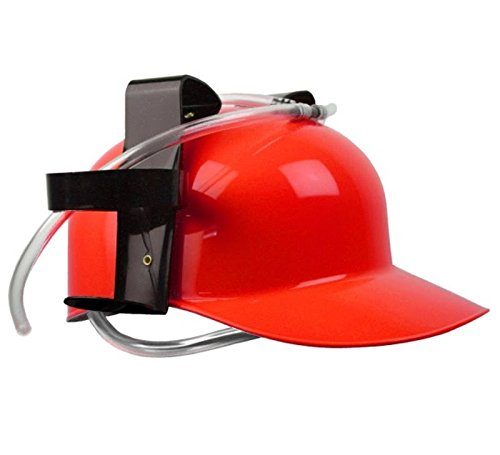 1Piece Beer Can Holder Helmet Drinking Helmet Drinking Party Hat Red