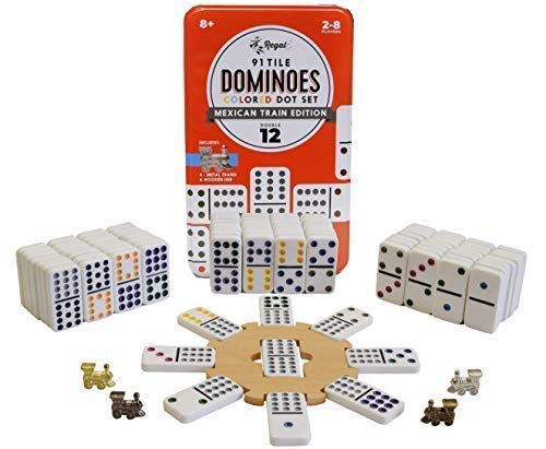 Mexican Train Set - Regal Games Double 12 Mexican Train Dominoes with Wooden Hub and Metal Trains
