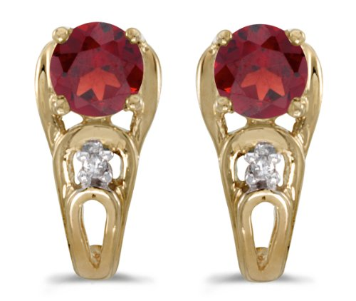 5mm Round Garnet Post Earrings - 1.00 Carat (ctw) 14k Yellow Gold Round Red Garnet and Diamond Stud Earrings with Post with Friction Back (5 MM)