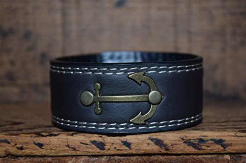 Upcycled Black White Skinny Leather Cuff Bracelet Riveted with Anchor Medallion (Jersey Shore Outfits)
