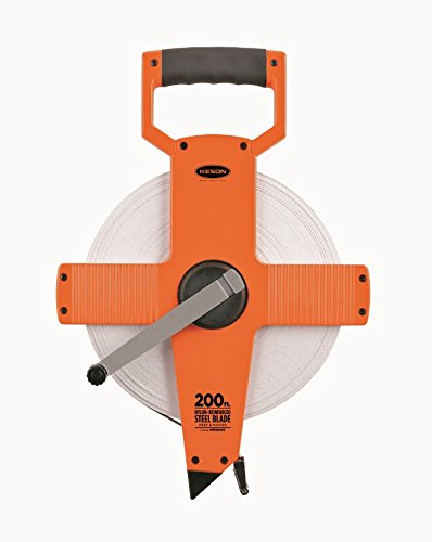 Keson NR18200 Nylon Coated Steel Blade Measuring Tape with Zero Point at Tape End and Hook End (Graduations: ft., in. 1/8), 200-Foot