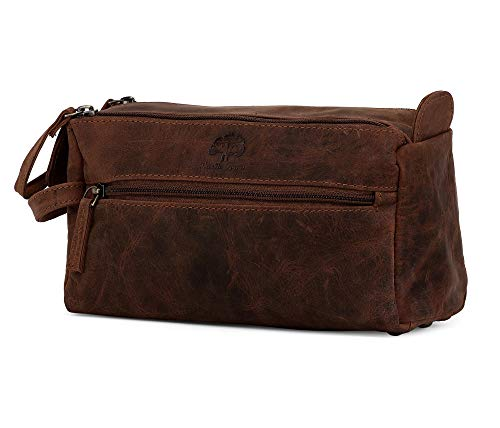 844506bbdb6d Leather Toiletry Bag for Men - Hygiene Organizer Travel Dopp Kit By Rustic  Town