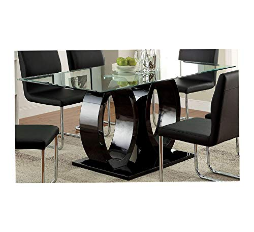 Wood & Style Furniture Glass Top Double Pedestal Dining Table, Black Home Office Commerial Heavy Duty Strong Décor
