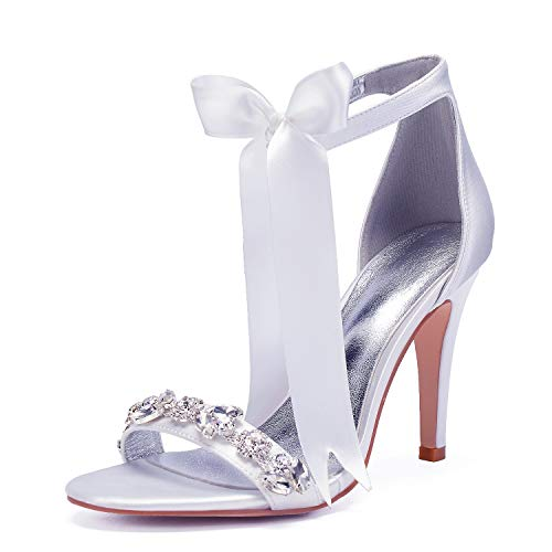 Elobaby Women Wedding Shoes Satin Silk Sandals Rhinestones Toe Kitten Ivory Peep Toe Size Party/10.5CM Heel, White, ()