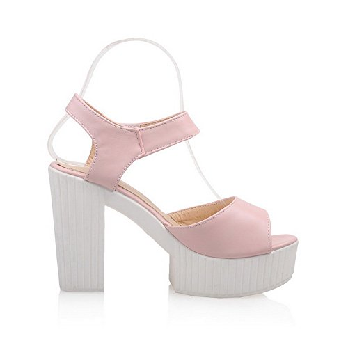 AmoonyFashion Womens Solid Soft Material High-Heels Hook-and-loop Peep-Toe Sandals Pink 3DtihmFET