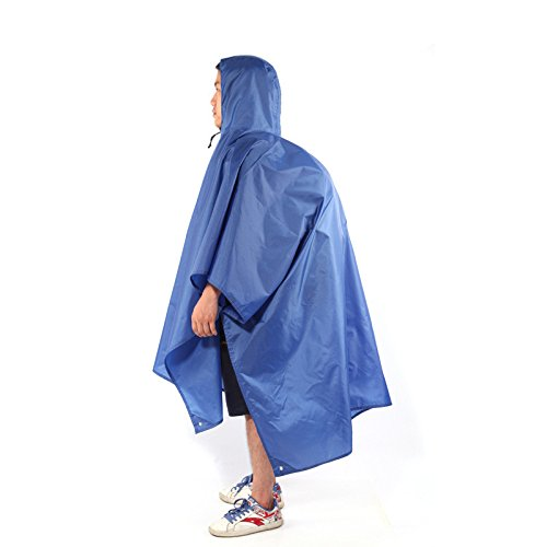 Sammid Multifunction Rain Poncho,3 IN 1 Unisex Portable Waterproof Tent Rain Cover Outdoor for Hunting Camping Camouflage - Blue by Sammid