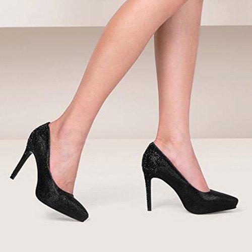 5cm Singole Moda da UK Nightclub Donna Scarpe Oro 34 Alti Strass Scarpe Sexy 9 Tacchi Scarpe Corte Matrimonio Impermeabile Lavoro snfgoij Black EU 2 XHqx4AZZ
