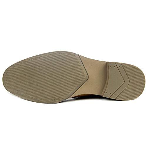 Scarpe HGDR Stivali Commerciante Brown In Su Chelsea Formale Casuale Caviglia Pelle Marrone Scivolare Fodera Nera E Inteligente Uomo TvxrnqFwT