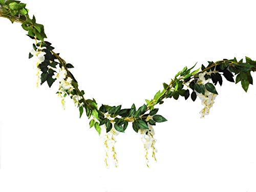 Sunrisee 2 Pcs Artificial Flowers 6.6ft Silk Wisteria Ivy Vine Hanging Flower Greenery Garland for Wedding Party Home Garden Wall Decoration, White ()