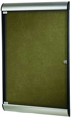 Ghent 42-1/8 x 27-3/4 Inches 1-Door Silhouette Enclosed Bulletin Board, Satin and Black Frame with Flair Fabric, Forest , Made in the USA by Ghent