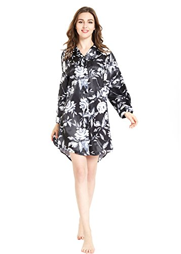 (lantisan Silky Satin Long Sleeve Sleepshirt for Women,Floral Boyfriend Button-Down Nightshirt with Mask,Rose on Black,M)
