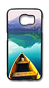 Samsung Galaxy S6 Customized Unique Hard Black Case Boat On Still Lake Case S6 Cover PC Case