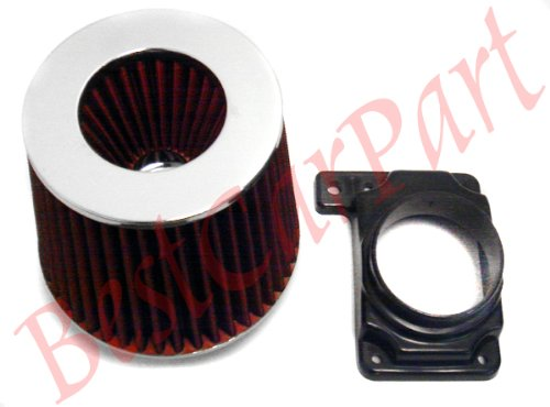 91-99 Mitsubishi 3000gt /02 03 04 05 Mitsubishi Lancer /94-03 Galant I4/v6 /00-05 Eclipse I4/v6 Air Intake Adapter Filter+ Air Filter (Includ Red Air Filter)