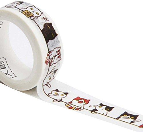 3 PCS japonés estilo de papel de bricolaje cintas con patrón de casa de dibujos animados sentado gato