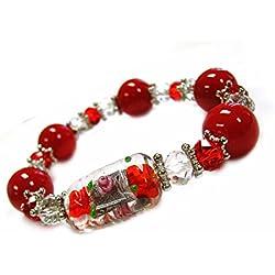 Linpeng Red Women-Lampwork Glass Crystal Beads Stretch Bracelet Pouch