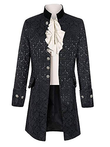 Taoliyuan Mens Steampunk Victorian Jacket Costume Gothic Renaissance Medieval Adult Cosplay Formal Coat Black