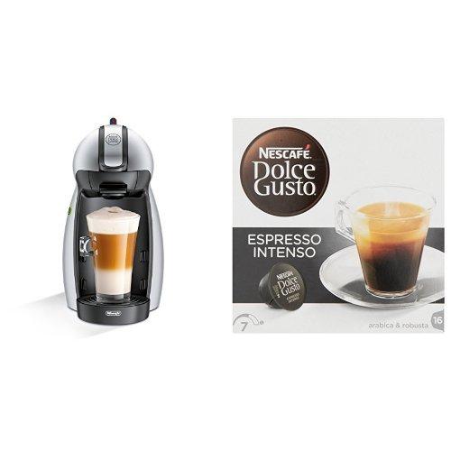 Pack DeLonghi Dolce Gusto Piccolo EDG201.S - Cafetera de cápsulas, 15 bares de presión, color plateado + 3 packs de café Dolce Gusto Espresso Intenso