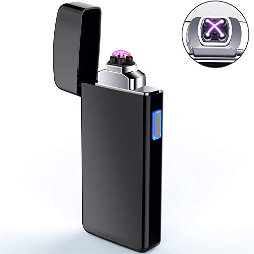 Lighter, Electric Lighter USB Rechargeable Dual Arc Lighter Windproof Flameless Plasma Lighter for Fire, Candle, Cigarette, Pipes (Black)
