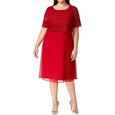 R&M Richards Womens Plus Sequined Popover Evening Dress