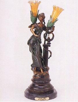 ''Harp Girl'' 24''H Distinctive Solid Bronze Sculptural Lamp by A. Moreau