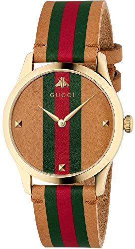 Gucci G-Timeless Tan Leather Strap Watch YA1264077 - Gucci Women Watches